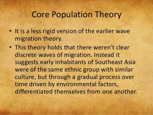 core population theory The core-periphery model is not limited to a global scale, either stark contrasts in wages, opportunities, access to health care, and so on among a local or national population are commonplace the united states, the quintessential beacon for equality, exhibits some of the most obvious examples.