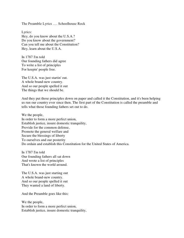 The preamble lyrics