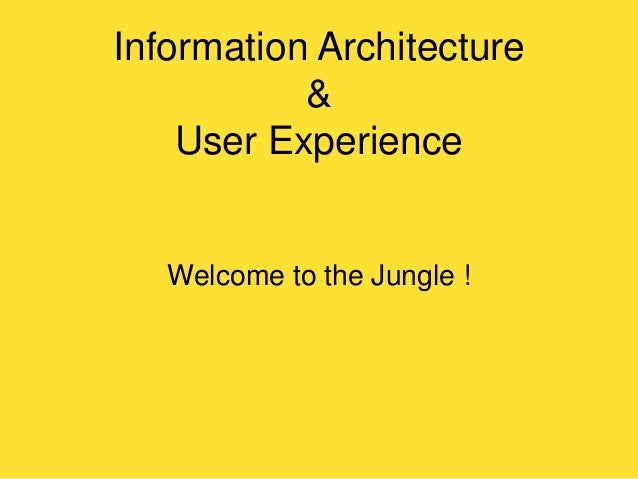 Information Architecture & User Experience  Welcome to the Jungle !