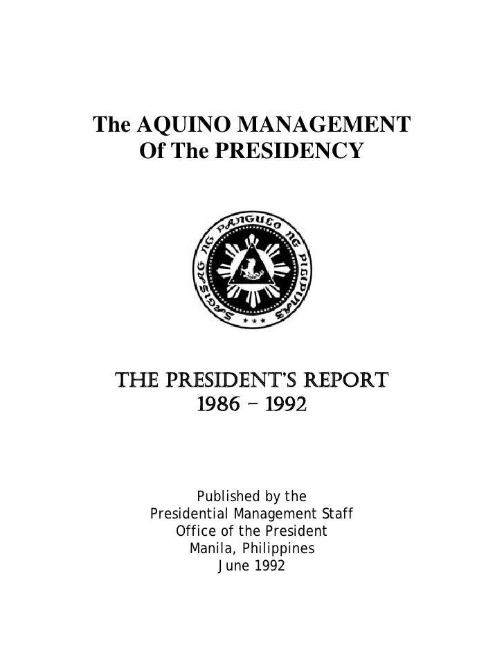 The President Report Corazon Aquino