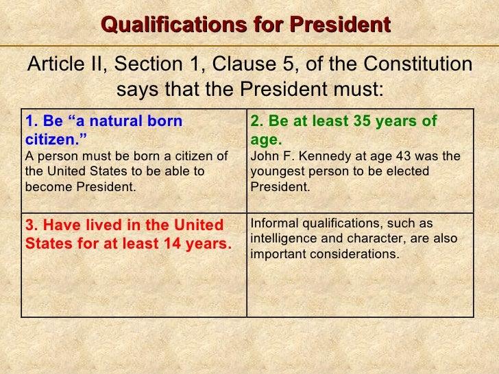 The President S Job Description