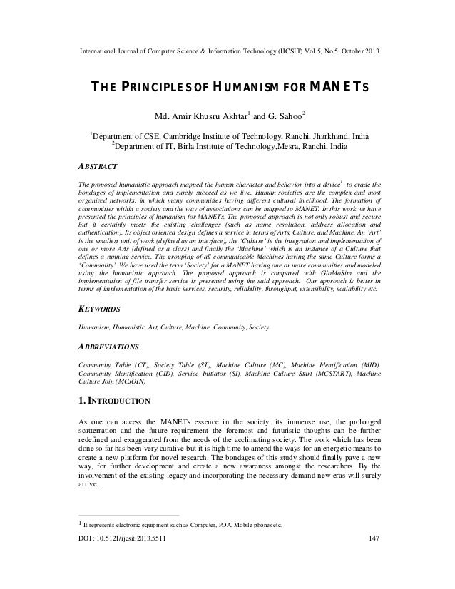 The principles of humanism for mane ts