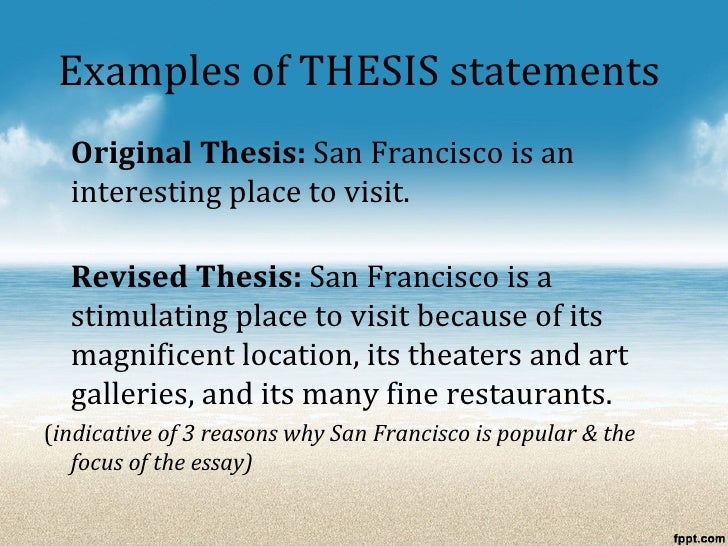 Example Of A Thesis Essay
