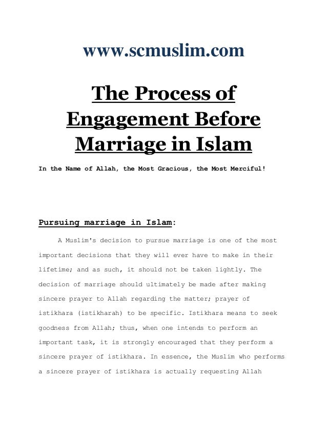 www.scmuslim.com         The Process of       Engagement Before        Marriage in IslamIn the Name of Allah, the Most Gra...