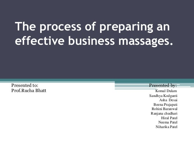 The process of preparing an effective business massages