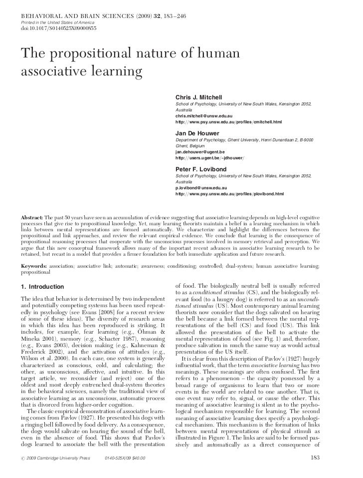 The propositional nature of human associative learning