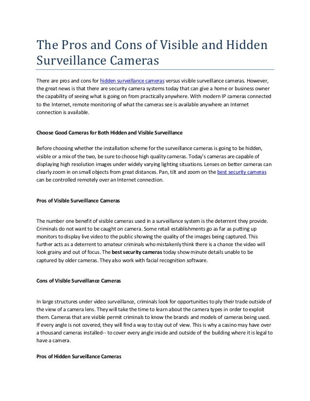 The pros and cons of visible and hidden surveillance cameras