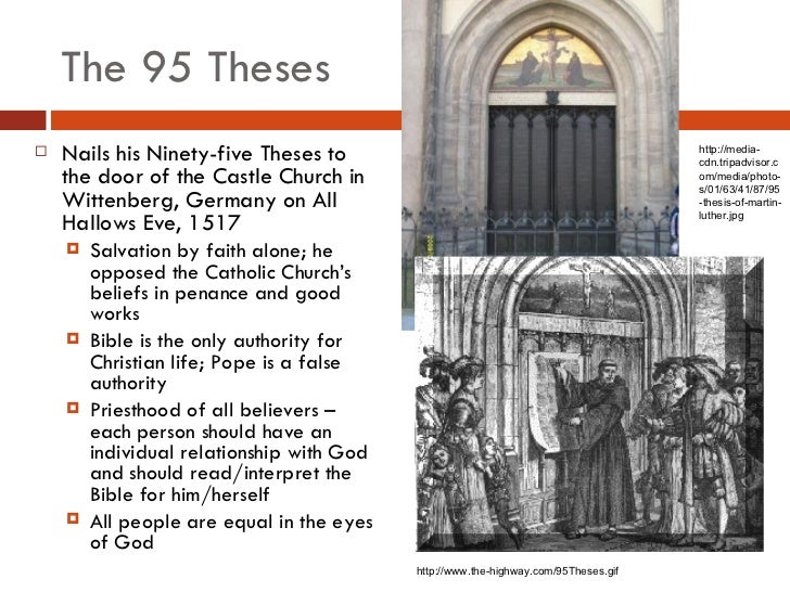 short summary of the ninety five theses The 95 theses and their results (1517-1519) background from 1514 luther was not only theology professor at wittenberg university but also the priest at the city church in wittenberg.
