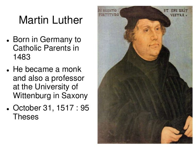martin luther 95 theses powerpoint What were the main points of marin luther's 95 theses follow 5 answers 5 report abuse are you sure you want to delete this answer how many of martin luther's 95 theses does the catholic church now go along with answer questions.