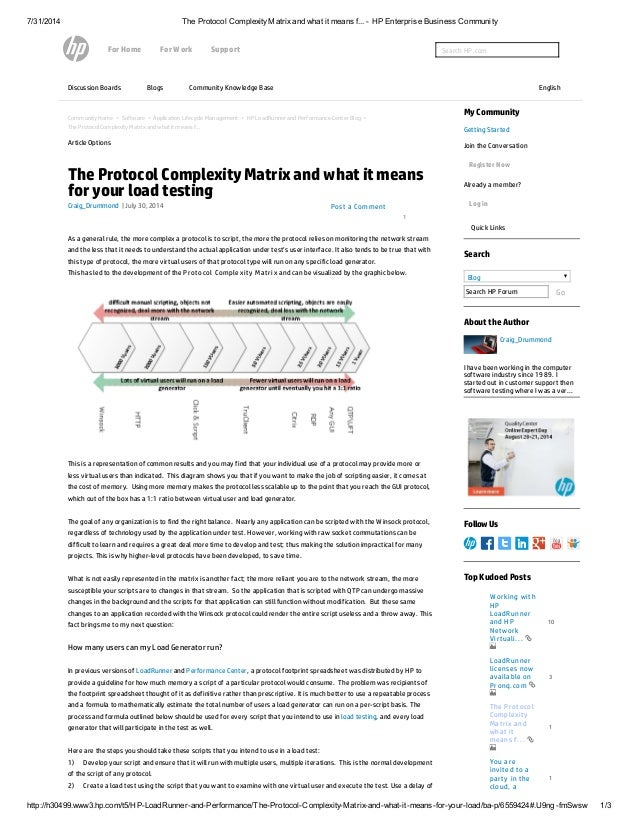 7/31/2014 The Protocol ComplexityMatrixand what it means f... - HP Enterprise Business Community http://h30499.www3.hp.com...