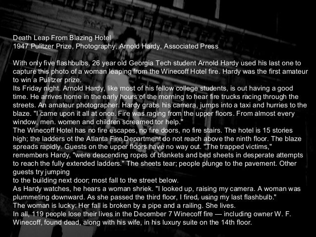 essay pulitzer photograph Diane's story was a finalist for the pulitzer prize for feature photography 2 / 27 i am a beautiful woman i am a beautiful, one-breasted woman 3 / 27 a single.