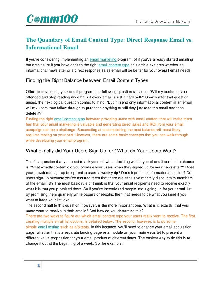 The Quandary of Email Content Type: Direct Response Email vs.Informational EmailIf youre considering implementing an email...