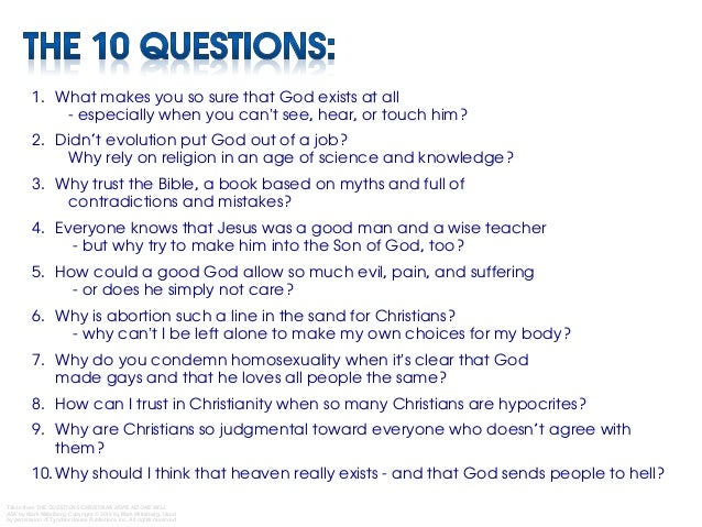 questions in christianity today essay