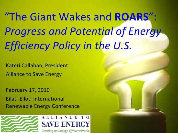 """ The Giant Wakes and  ROARS "": Progress and Potential of Energy Efficiency Policy in the U.S. Kateri Callahan, President ..."