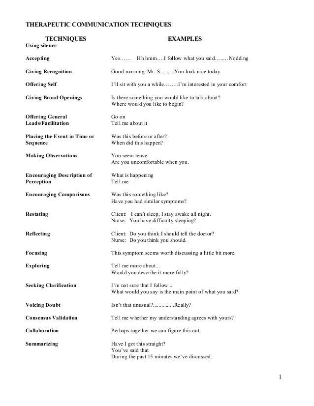 therapeutic communication nursing essay