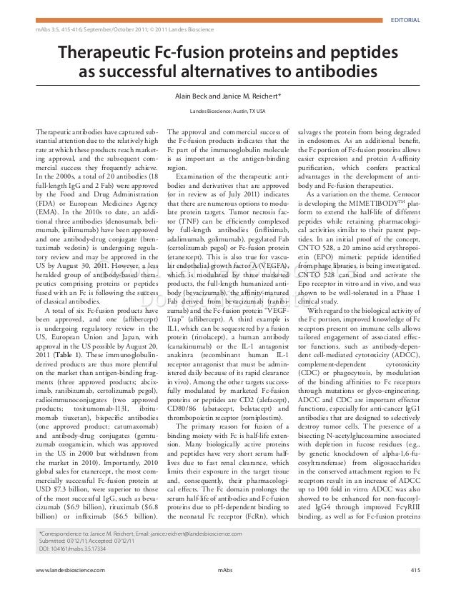 EDITORIAL  EDITORIAL  mAbs 3:5, 415-416; September/October 2011; © 2011 Landes Bioscience  Therapeutic Fc-fusion proteins ...