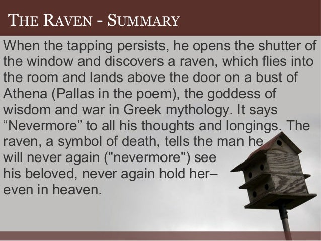 an analysis of the poem the raven by edgar allan poe In edgar allan poe's the raven, poe seeks to tell the story of an agonized man who is distraught with the memories of a beloved women by the name of lenore.