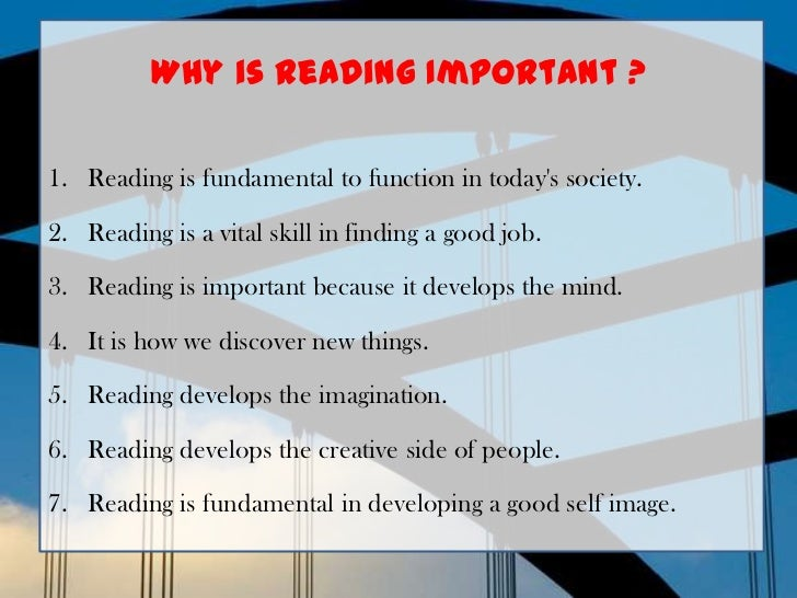 essay about the importance of reading and writing Strategies of teaching reading education essay print reference this reading is one of the most important skills that pupils need to acquire young, walsh & mcdonald (2012) agree that reading and writing are important to enhance education essay writing service essays more education.