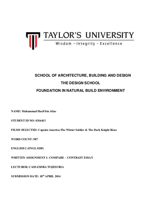 SCHOOL OF ARCHITECTURE, BUILDING AND DESIGN THE DESIGN SCHOOL FOUNDATION IN NATURAL BUILD ENVIRONMENT NAME: Muhammad Hasif...
