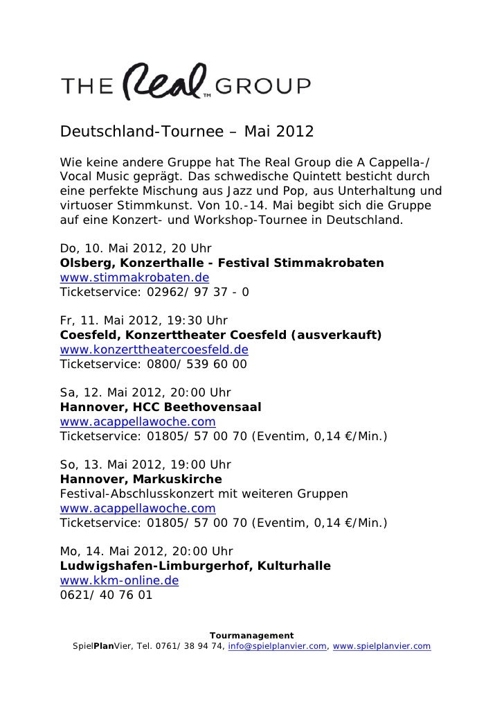 The Real Group  Deutschland-Tour 2012