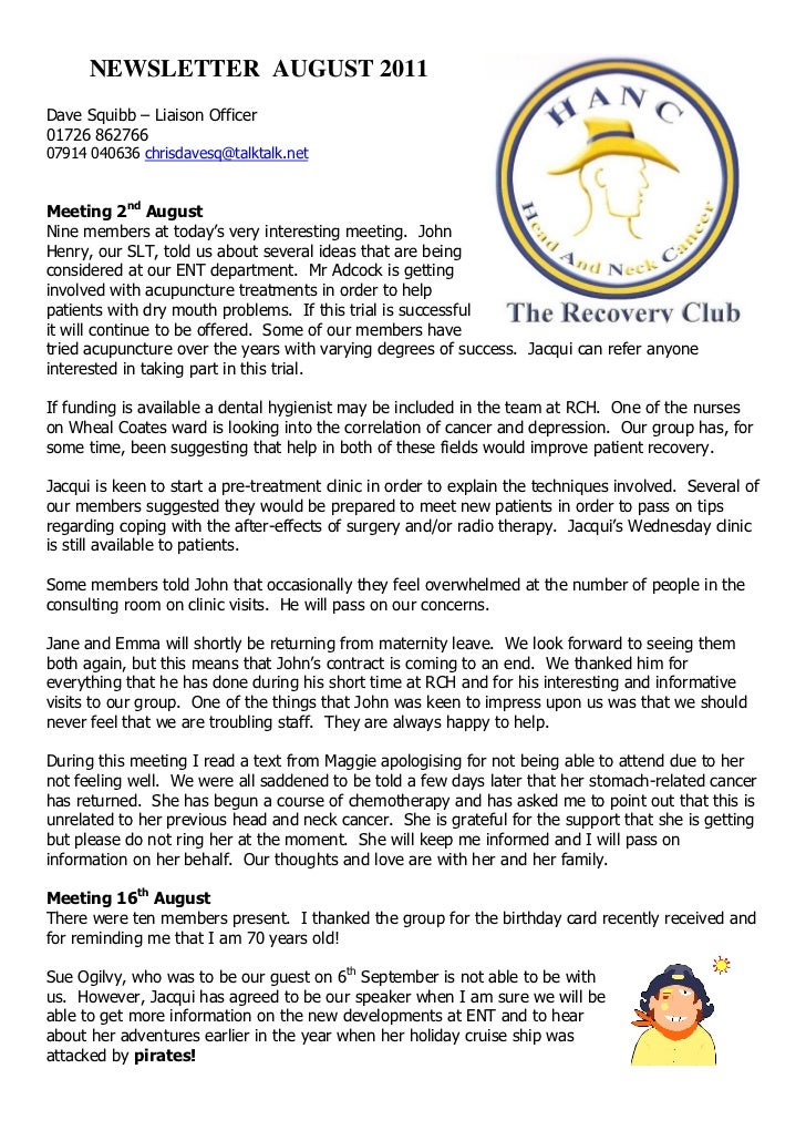 The Recovery Club August 2011 Newsletter