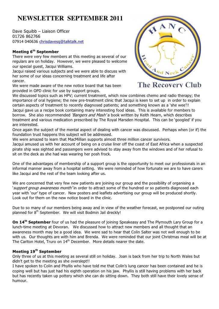 THE RECOVERY CLUB NEWSLETTER September 2011