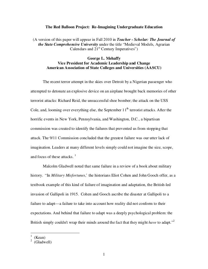 The Red Balloon Project: Re-Imagining Undergraduate Education    (A version of this paper will appear in Fall 2010 in Teac...