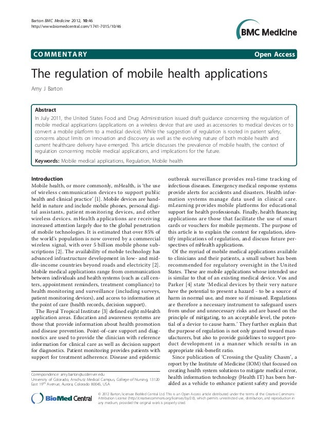 The regulation of mobile health apps