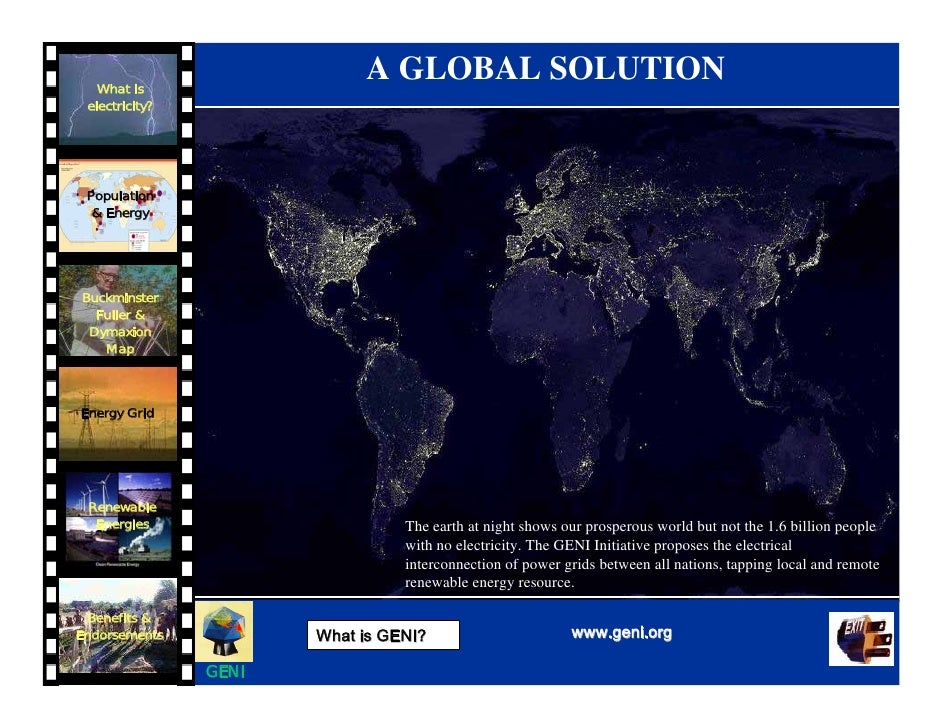 A GLOBAL SOLUTION    What is  electricity?      Population   & Energy     Buckminster   Fuller &  Dymaxion    Map    Energ...