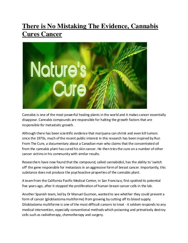 There is No Mistaking The Evidence, Cannabis Cures Cancer Cannabis is one of the most powerful healing plants in the world...