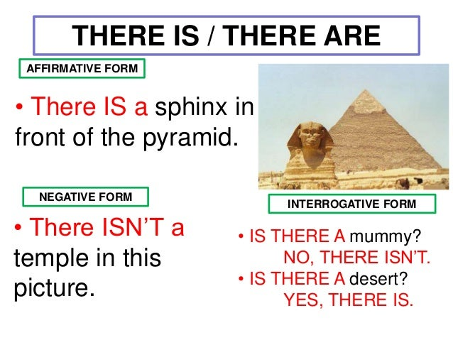 There is there are affirmative negative interrogative for There is there are pictures