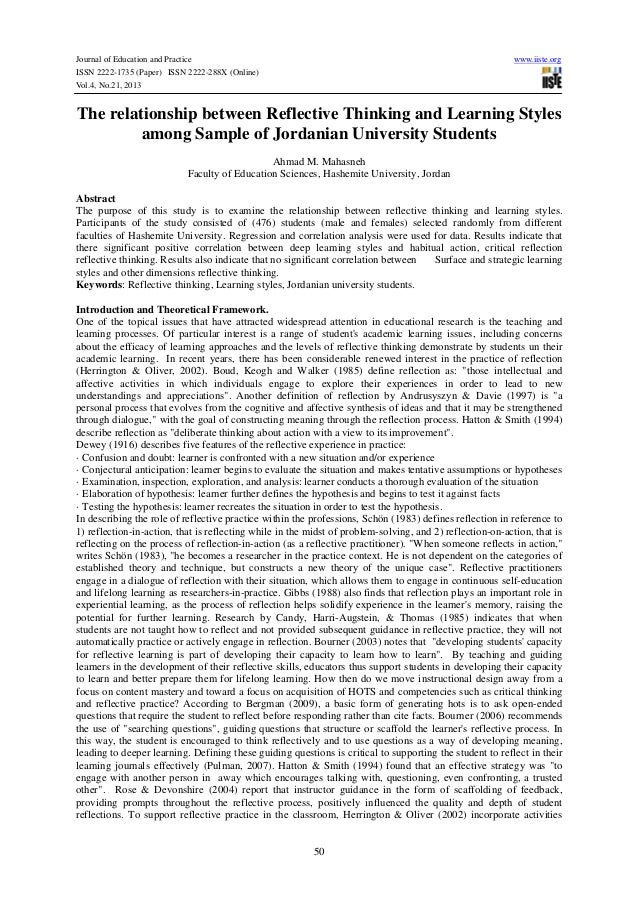reflective writing essay examples