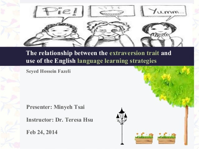 The relationship between the extraversion trait and use of the English language learning strategies Seyed Hossein Fazeli  ...