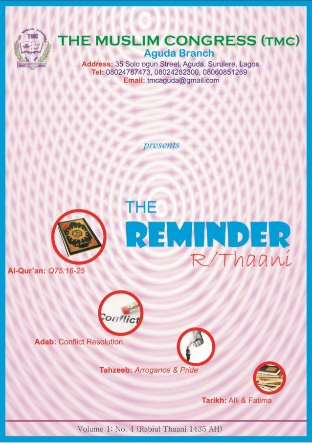 TMC Aguda_The Reminder (R/Thaani 1435)