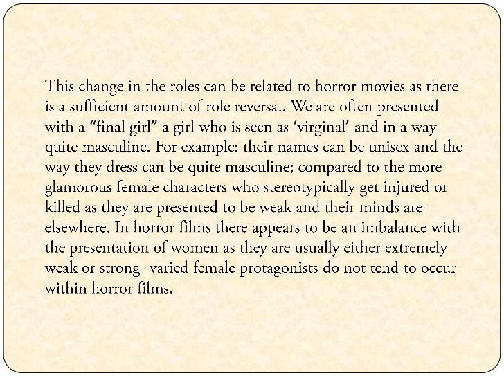 Horror Movie Essay Help?