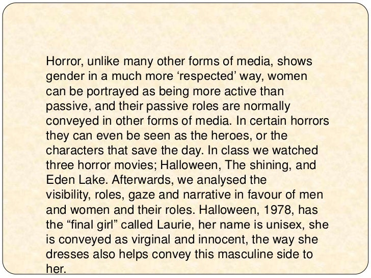 gender politics and roles in a horror film essay Friedman: horror films wrongly extend male, female stereotypes, even in cases of sarcasm we watched these movies and began developing our attitudes about gender.