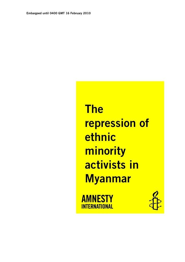 The repression of ethnic minority activists in myanmar
