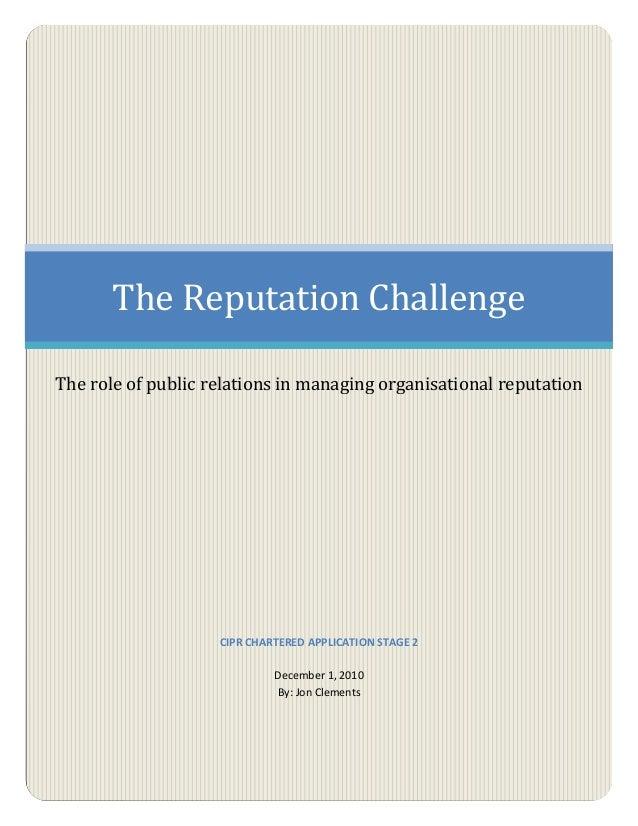 The Reputation Challenge