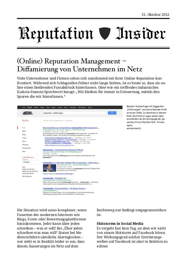 31. Oktober 2012Reputation                                                    Insider(Online) Reputation Management –Diffam...