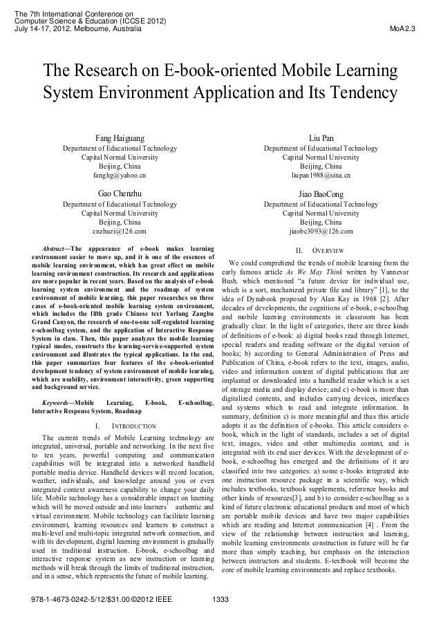 The Research on E-book-oriented Mobile Learning System Environment Application and Its Tendency Fang Haiguang Department o...