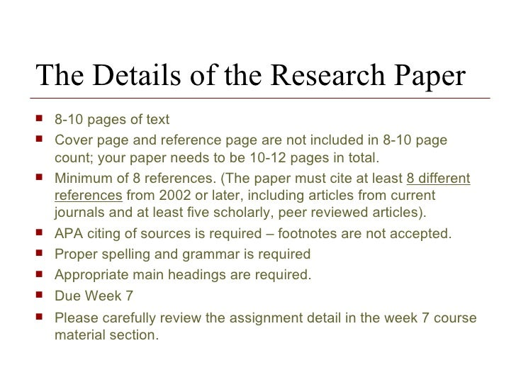 reference page for research papers C references page this section analyzes the research results apa paper 2 table of contents i formatting a paper parts of paper.