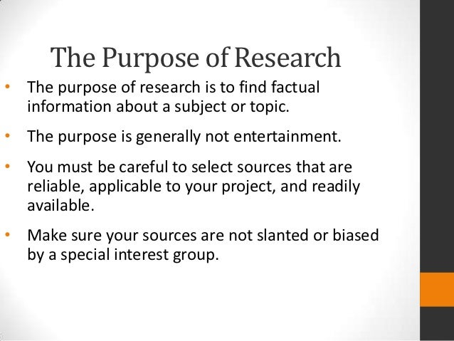 Purpose Of A Research Paper