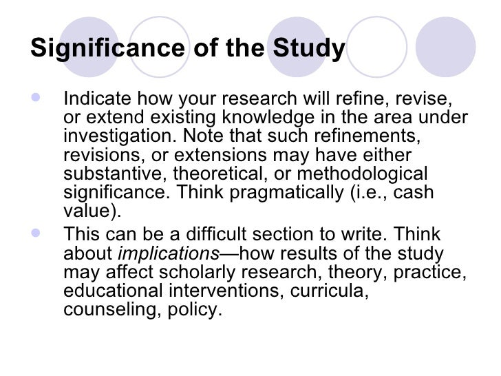Thesis purpose of the study