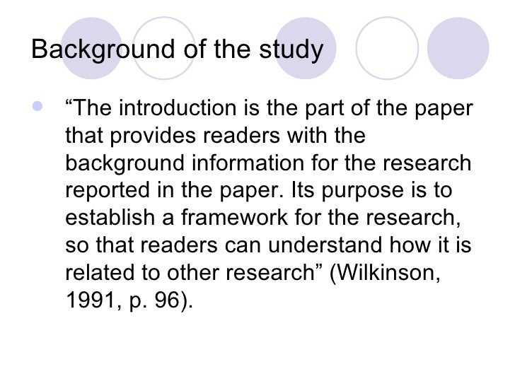 What is background information in a research paper