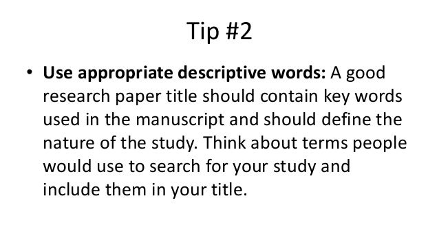 key terms in research paper