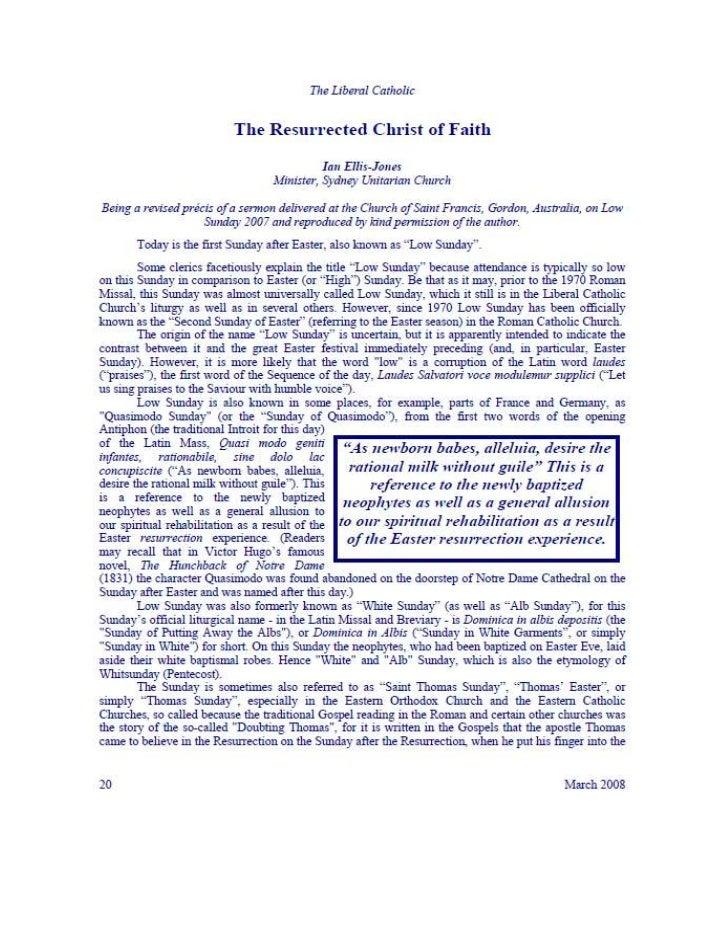 THE RESURRECTED CHRIST OF FAITH