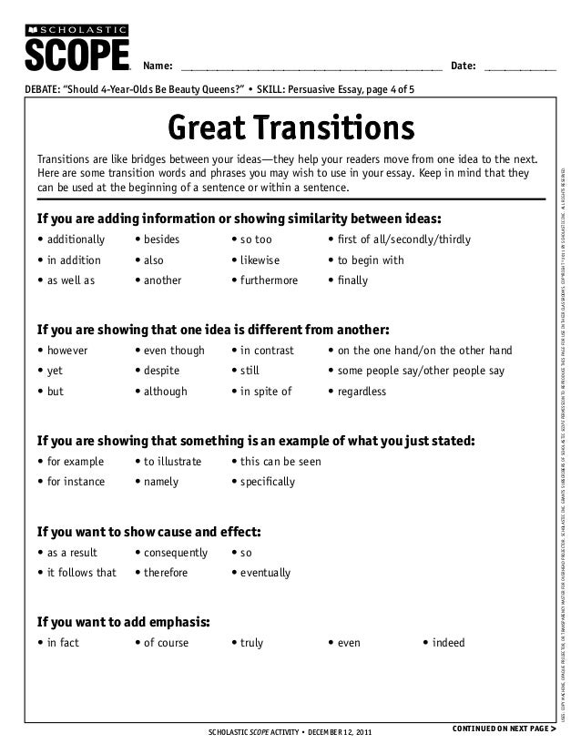 transition to thesis By the end of this week, you should comprehend what a thesis statement is, how to identify a thesis, and how to write one likewise, you should be fluent in the.