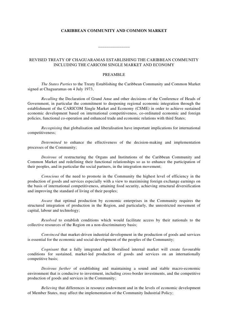 CARIBBEAN COMMUNITY AND COMMON MARKET                                             _______________    REVISED TREATY OF CHA...