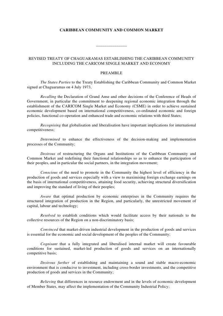 The Revised Treaty Of Chaguaramas - CARICOM Treaty 2001