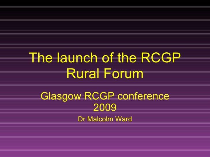RCGP Rural Forum Official Launch